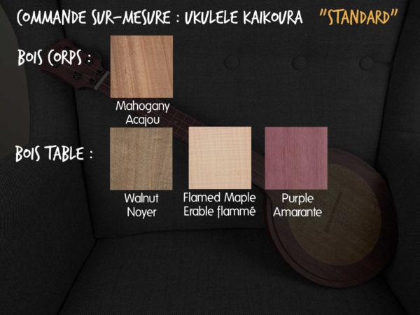 Ukulélé Mélopée Kaïkoura - Options Commandes STANDARD FR
